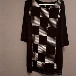 Relax fit dress w/ 3/4 sleeve